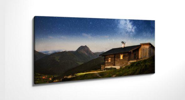 Leinwandbild Almhütte Kitzbüheler Alpen Sternenhimmel
