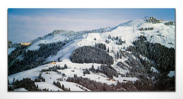 winter, dämmerung, hahnenkamm, fleckalm, kirchberg, kitzbühel, leinwandbild