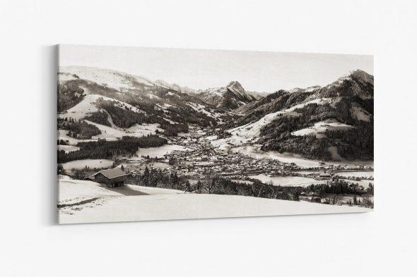 Leinwandbild, Sepia, Kirchberg in Tirol, Winter